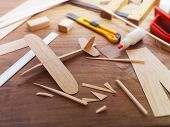 stock photo of wood craft  - Making model airplane from wood - JPG