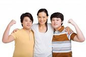 pic of korean  - Happy Korean mother and her sons showing the muscles - JPG