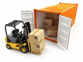 image of forklift  - Forklift handling the cargo shipping container box - JPG