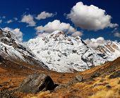 Paisagem de montanha, Annapurna South, Himalaia, Nepal