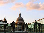Saint Paul'S Cathedral And Millenium Bridge London
