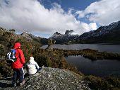 Hiker at Tasmania's Cradle Mountain and Dove Lake