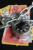 Combination Padlock and Australian money