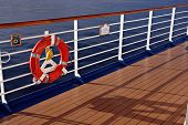 Cruise ship railing and life buoy