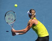 MELBOURNE, AUSTRALIA - JANUARY 26: Maria Kirilenko in action at her quarter final loss to Jie Zheng