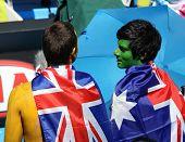 MELBOURNE, AUSTRALIA - JANUARY 26: Tennis fans at the Australian Open January 26, 2010 in Melbourne, Australia