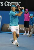 MELBOURNE - JANUARY 27: Roger Federer during his win over Nikolay Davydenko during a quarter final m