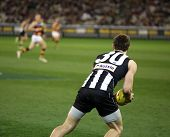 MELBOURNE - AUGUST 21: Brent McAffer in action during Collingwood's win over Adelaide - August 21, 2