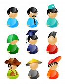 9 vector characters pack: standard, manager, nurse, soldier, graduating student, mohawk punk, cowboy