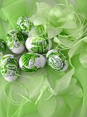 beautiful easter eggs on green background