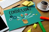 Content Is King  Seo Search Engine Optimization And Content Marketing Concept poster