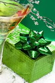 image of wine-glass  - glass with champagne and gift box - JPG