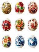 easter eggs over white background
