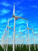stock photo of wind-farm  - 3d rendered illustration of many wind mills - JPG