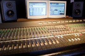 image of recording studio  - Studio console with computer screens and audio monitors - JPG