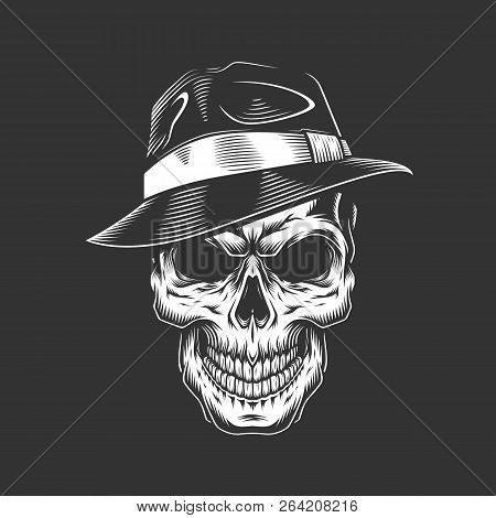 Vintage Monochrome Gangster Skull In