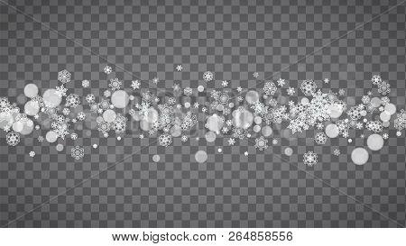 Blizzard Snowflakes On Transparent Grey