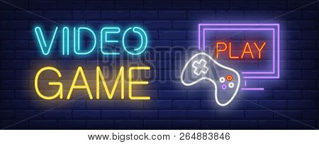 poster of Video Game Neon Text With Game Console And Monitor. Computer Games And Entertainment Advertisement D