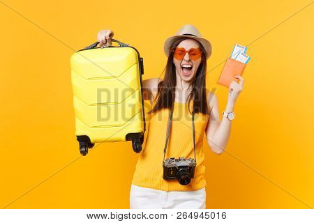 poster of Traveler Tourist Woman In Summer Casual Clothes, Hat With Suitcase, Passport, Ticket Isolated On Yel