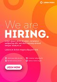Vector We Are Hiring Typography Poster Concept Template With Text Box Design And Join Us Button poster