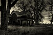 haunted house, as I was told by the locals. Shot in rural Wyoming. A dark, monochrome HDR image with intentionally added grain to enhance mood.