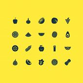 Fruit Icons Set With Palm Fruit, Grapes, Passion Fruit And Other Grapefruit Elements. Isolated  Illu poster