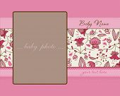 Baby Girl Arrival Card with Frame