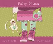Baby girl arrival announcement card with plush rabbit