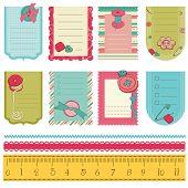 Elementos de diseño para el libro de recuerdos del bebé - lindos etiquetas con botones