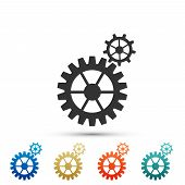 Gear Icon Isolated On White Background. Cogwheel Gear Settings Sign. Cog Symbol. Set Elements In Col poster