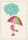 Autumn Card with bird in rain boots - for scrapbook, design, invitation, greetings