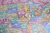 image of united states map  - Macro Globe Map Detail 03 - JPG