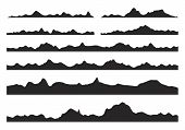 Mountains Silhouettes On The White Background. Wide Semi-detailed Panoramic Silhouettes Of Highlands poster