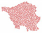 Mosaic Map Of Saarland Map Formed With Red Love Hearts. Vector Lovely Geographic Abstraction Of Map  poster
