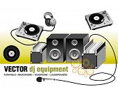 vector illustration of dj equipment,contains:turntable, vinyl's ,headphone,microphone,loudspeakers,
