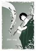stylistic  vector illustration describing a girl playing a song on a flute in the garden,grunge fram