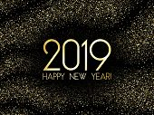 2019 Happy New Year Card, Fashionable Gold Confetti. 2019 Holiday Card, Banner Or Party Poster Desig poster