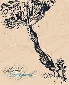 Ilustración del árbol en papel viejo