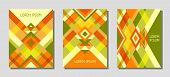 Collection Of Cover Page Layouts, Vector Templates Geometric Design With Triangles And Stripes. Ethn poster