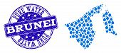 Map Of Brunei Vector Mosaic And Pure Water Grunge Stamp. Map Of Brunei Composed With Blue Water Rain poster