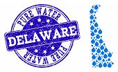 Map Of Delaware State Vector Mosaic And Pure Water Grunge Stamp. Map Of Delaware State Designed With poster
