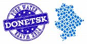 Map Of Donetsk Republic Vector Mosaic And Pure Water Grunge Stamp. Map Of Donetsk Republic Formed Wi poster