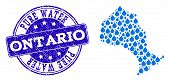 Map Of Ontario Province Vector Mosaic And Pure Water Grunge Stamp. Map Of Ontario Province Formed Wi poster