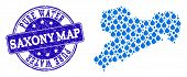 Map Of Saxony Map Vector Mosaic And Pure Water Grunge Stamp. Map Of Saxony Map Formed With Blue Wate poster