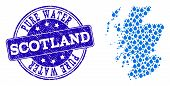 Map Of Scotland Vector Mosaic And Pure Water Grunge Stamp. Map Of Scotland Composed With Blue Water  poster
