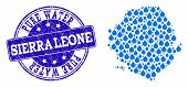 Map Of Sierra Leone Vector Mosaic And Pure Water Grunge Stamp. Map Of Sierra Leone Formed With Blue  poster