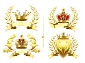 Realistic Heraldic Emblems. Insignia With Golden Crown, Gold Crowning Medal And Emblem With Royal Cr poster