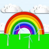 Rainbow, Green Ecology Wind Energy, Wind Power Plant, Wind Energy poster
