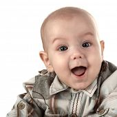 stock photo of happy baby boy  - happy baby face close up - JPG
