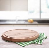 Kitchen Towel On Wooden Table. Napkin Close Up Top View Mock Up For Design. Kitchen Rustic Backgroun poster